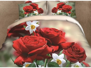 3D Red Rose and White Blossom Printed Cotton 4-Piece Bedding Sets/Duvet Covers