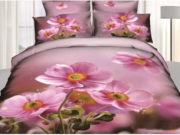 3D Pink Crocus Printed Cotton 4-Piece Bedding Sets/Duvet Covers