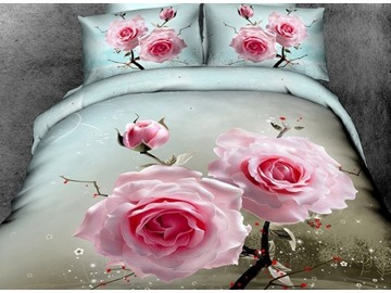 High Quality Two Pink Flowers Print 4-Piece Duvet Cover Sets