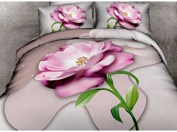 Amazing Vivid Pink Flower Print 4-Piece 3D Duvet Cover Sets