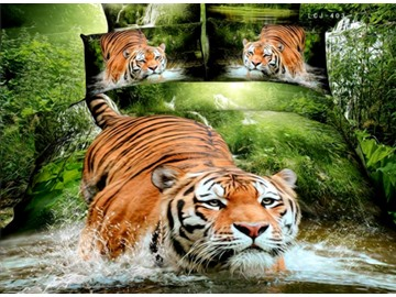 3D Tiger Jumping into Water Printed Cotton 4-Piece Bedding Sets/Duvet Covers