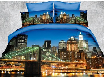 Beautiful Nighttime Imagery of City Print 4 Piece Polyester 3D Bedding Sets