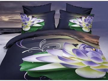 Splendid Purple Lotus Print 4-Piece Polyester 3D Duvet Cover Sets
