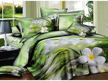 3D White Daffodils on Water Edge Printed Cotton 4-Piece Green Bedding Sets