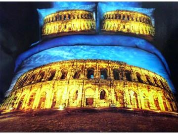 Golden Roman Colosseum Print 4-Piece Cotton Duvet Cover Sets