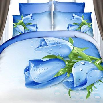 Amazing Dewy Blue Rose Print 4-Piece Cotton Duvet Cover Sets