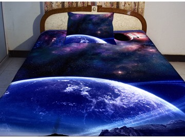 Blue Celestial Body  Print 4-Piece Duvet Cover Sets