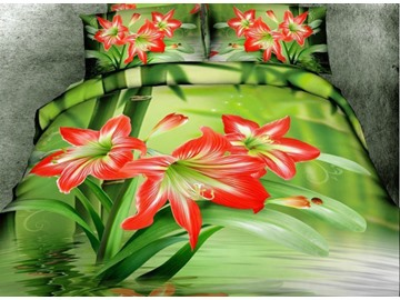 Amazing Red Daffodil Flower Print 4-Piece Cotton Duvet Cover Sets