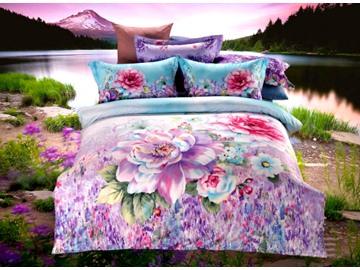Exquisite Purple Flower Print 4-Piece Cotton Duvet Cover Sets