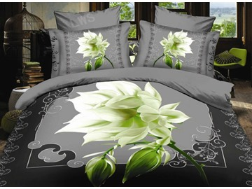 Elegant Night Blooms Flower Print 4-Piece Polyester Duvet Cover Sets