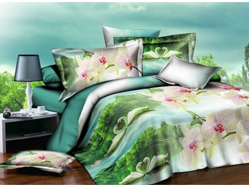 White Swan Couple in Lake and Green Woods Print 4-Piece Polyester Duvet Cover Sets