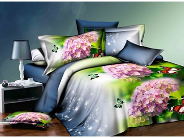 Pink Hydrangea Flower and Butterfly Print 4-Piece Polyester Duvet Cover Sets