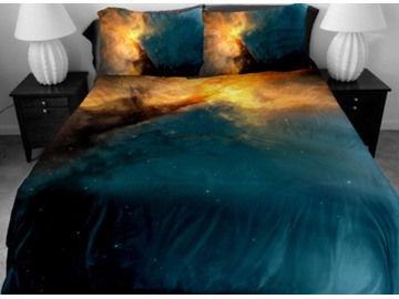 Dark Blue and Yellow Nebula Print 4-Piece Duvet Cover Sets