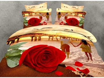 Fancy Red Rose and Couple Print 4-Piece 100% Cotton Duvet Cover Sets