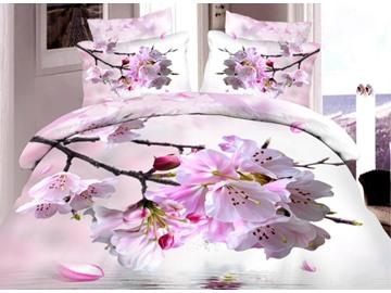 Very Beautiful Pink Peach Blossom Print 4-Piece Duvet Cover Sets