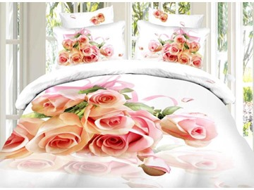 Fragrant Pink Rose Print 4-Piece Cotton Duvet Cover Sets