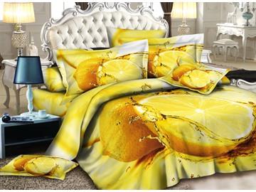 Fresh Lemon Print 4-Piece Polyester Duvet Cover Sets