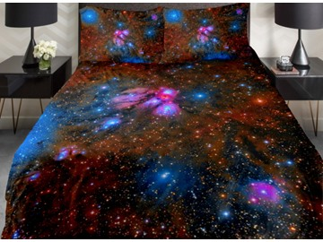 Fascinating Colorful Shining Galaxy Print 4-Piece Duvet Cover Sets