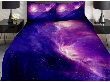 Amazing Dark Blue and Purple Galaxy Print 4-Piece Duvet Cover Sets