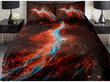 Blue and Red Star River Print 4-Piece Duvet Cover Sets