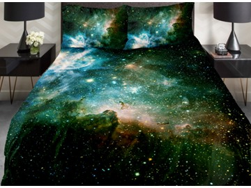 Fancy Shining Star and Green Nebula Print 4-Piece Duvet Cover Sets