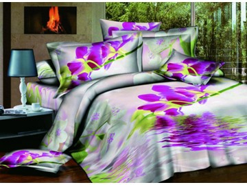 Delicate Purple Flower on Water Print 4-Piece Polyester Duvet Cover Sets