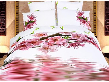 Pink Peach Blossom and Shadow in Water Print 4-Piece Cotton Duvet Cover Sets