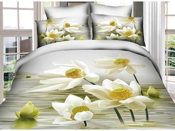 Delightful 3D White Lotus Print 4-Piece Cotton Duvet Cover Sets