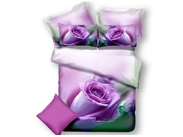 3D Bloomling Purple Rose Printed Cotton 4-Piece Full Size Bedding Sets/Duvet Covers