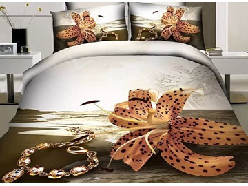 3D Tiger Lily and Bracelet Printed Cotton 4-Piece Bedding Sets/Duvet Covers