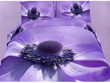 Wonderful Big Purple Flower Print 4-Piece Cotton Duvet Cover Sets