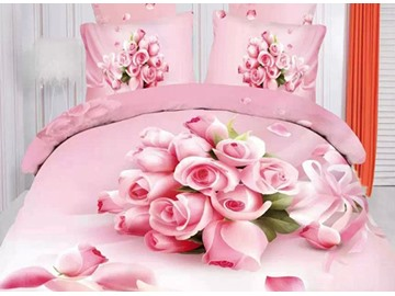3D Bouquet Pink Roses Printed Cotton 4-Piece Full Size Bedding Sets