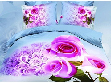 Amazing Pink Rose Print 4-Piece Cotton Duvet Cover Sets