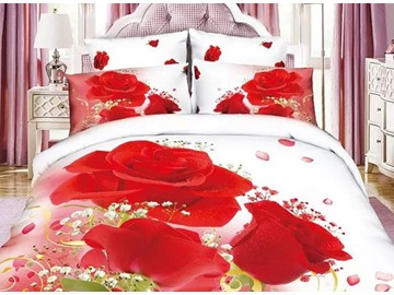 Fancy Red Rose Print 4-Piece Cotton Duvet Cover Sets