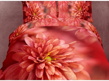 Dewy Red Flower Blooming Print 4-Piece Cotton Duvet Cover Sets
