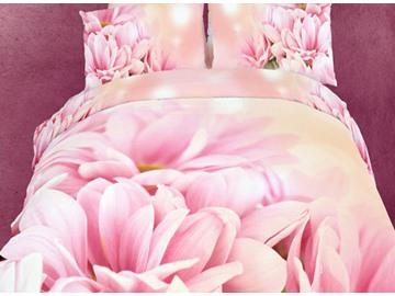 Soft Pink Flowers Print 4-Piece Cotton Duvet Cover Sets