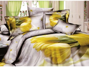 Soft and Comfort Yellow Tulip Print 4-Piece Cotton Duvet Cover Sets