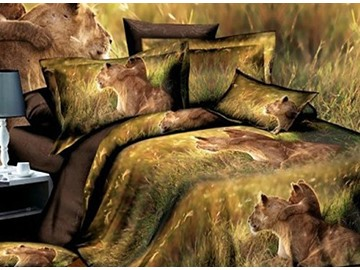 The Lion and His Son Print 4-Piece Polyester Duvet Cover Sets