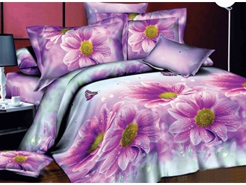 Amazing Pink Daisy Flower Print 4-Piece Polyester Duvet Cover Sets