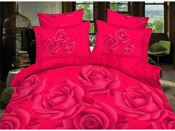 Romantic Red Rose Print 4-Piece Polyester Duvet Cover Sets