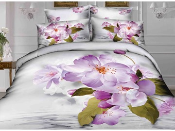 Pink Flower and Clear Water Print 4-Piece Cotton Duvet Cover Sets