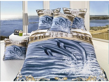 Dolphin and Water Print 4-Piece Polyester Duvet Cover Sets