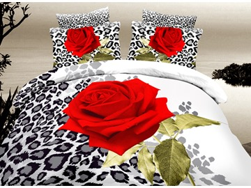 Fascinating Red Rose Print 4-Piece Duvet Cover Sets