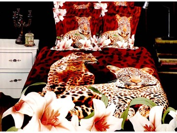 Leopard and Lily Flower Print 4-Piece Polyester Duvet Cover Sets