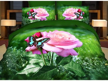 Charming Pink Rose and Butterfly 4-Piece Polyester Duvet Cover Sets