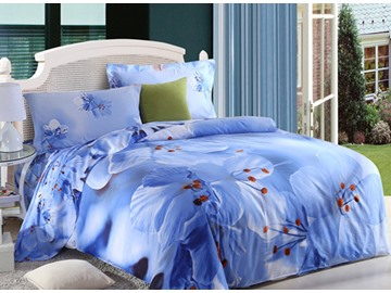 Fragrant Blue Flower Print 4-Piece Cotton Duvet Cover Sets
