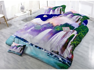 Down-Flowing Waterfall Digital Print 4-Piece Satin Cotton Duvet Cover Sets