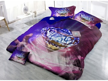 Diamond with Musical Notes Surrounding Digital Print 4-Piece Cotton Silky Duvet Cover Sets