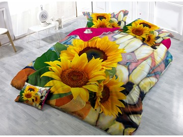 Splendid Sunflower Digital Print 4-Piece Cotton Silky Duvet Cover Sets