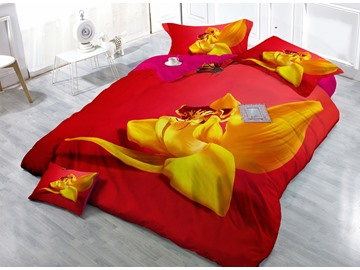 Yellow Flower and Butterfly Digital Print 4-Piece Cotton Duvet Cover Sets